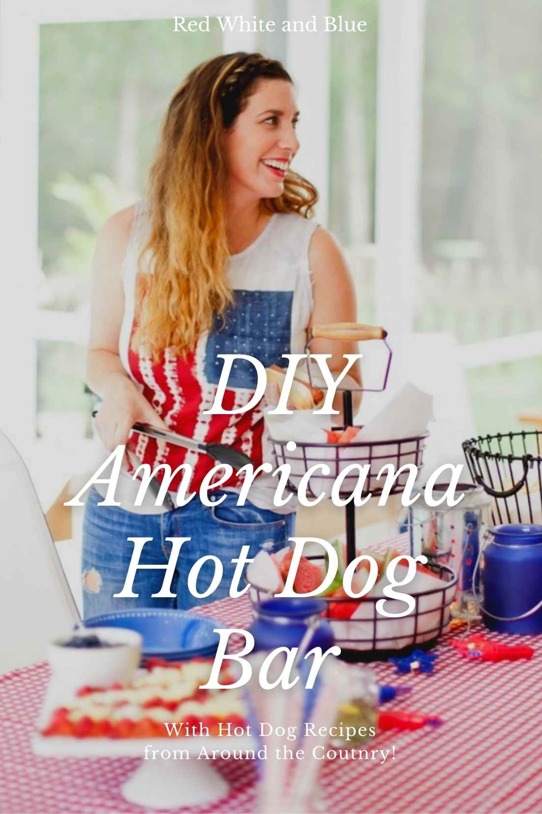 Red White and Blue fun, and a DIY Americana Hot Dog Bar! Set up toppings and flavors for hot dog recipes from around the U.S. Chicago style, Boston, Detroit, Philly, Carolina hot dog and more! |  Hot Dog Bar by popular Florida lifestyle blog, Fresh Mommy Blog: Pinterest image of a woman wearing an American flag tank top and assembling a hot dog at a table with a red and white check table cloth, tiered black wire serving dish with watermelon slices, white serving plate of hot dogs, and American flag fruit platter.