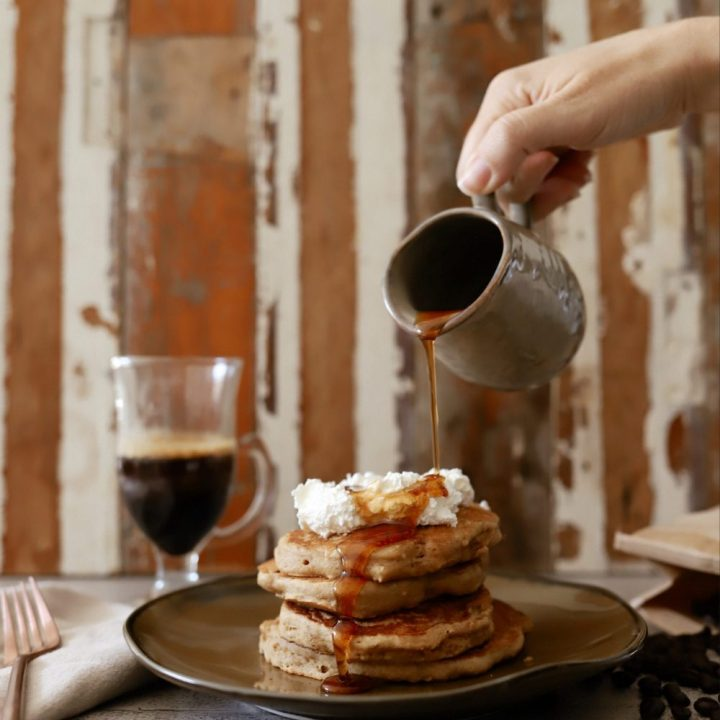 Mouthwatering Coffee Pancakes With Espresso and Vanilla Cream Whip