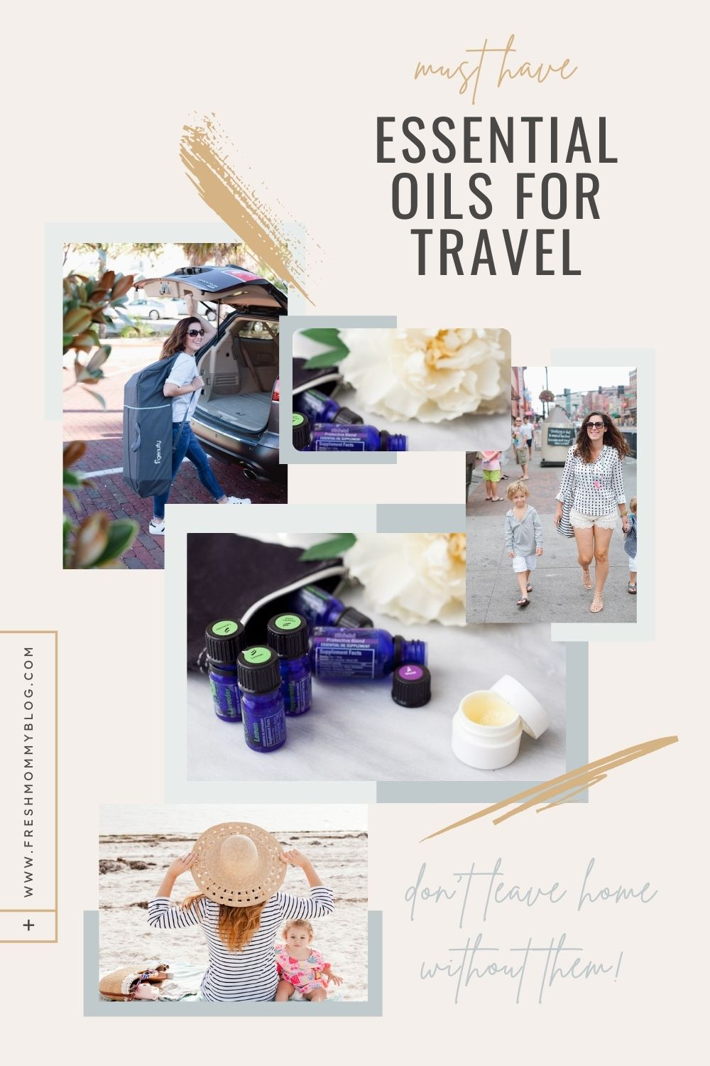 Top essential oils for travel and why you don't want to leave home without them.   Essential Oils for Travel by popular Florida lifestyle blog, Fresh Mommy Blog: Pinterest image of essential oils for travel.