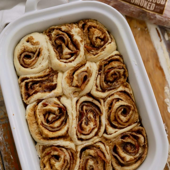 Deliciously Salty Sweet Bacon Cinnamon Rolls with Bourbon Glaze from food and lifestyle blogger Tabitha Blue of Fresh Mommy Blog
