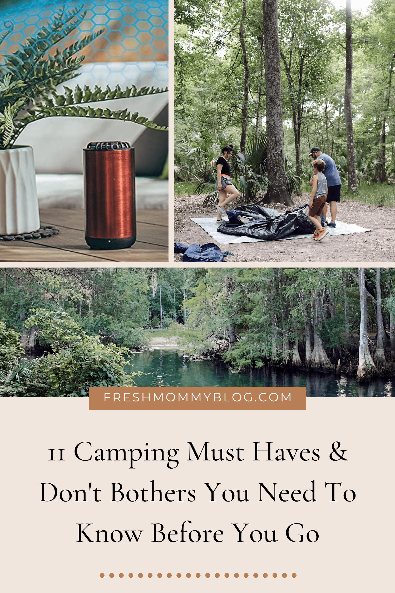 11 Camping Must Haves and Don't Bothers You Need to Know Before You Go. Family Camping   Camping Must Haves by popular Florida lifestyle blog, Fresh Mommy Blog: Pinterest image of camping must-haves.