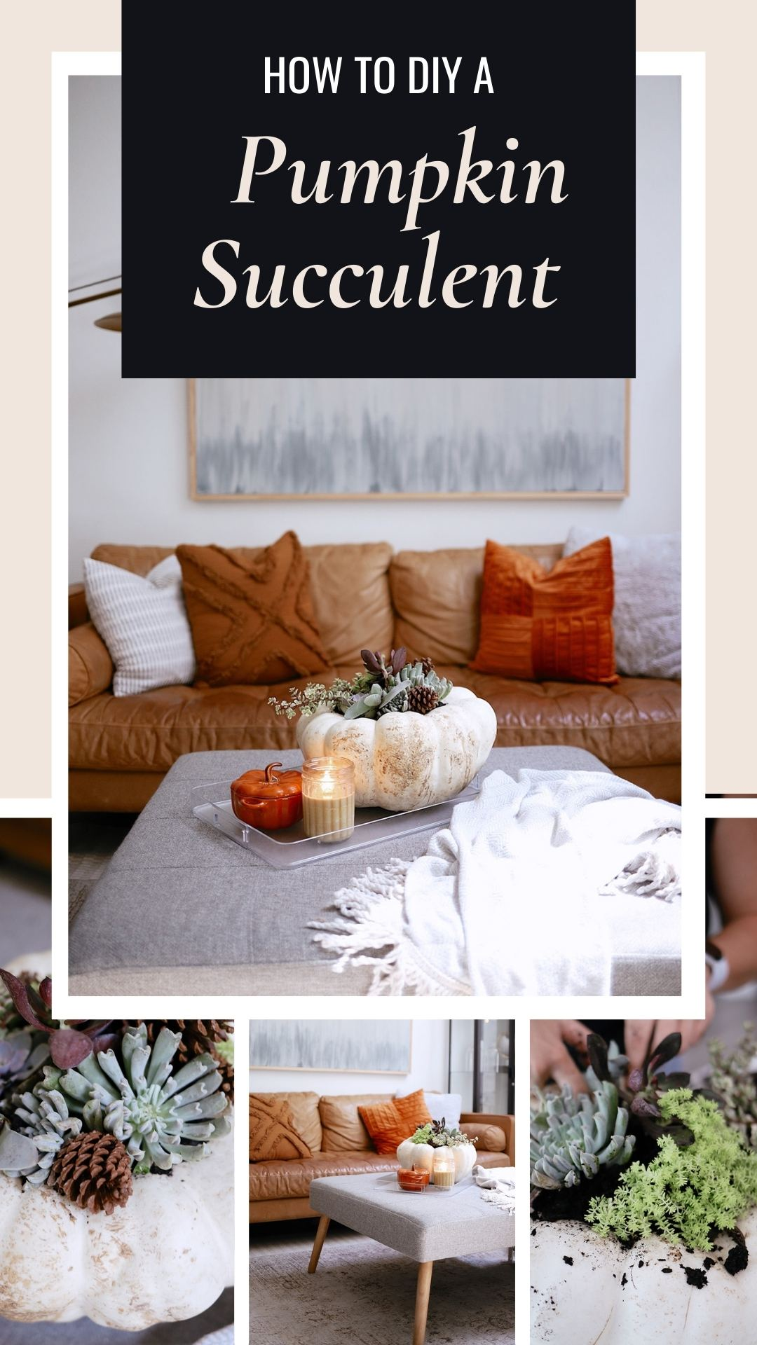 How to Make a Pumpkin Succulent Centerpiece, a tutorial featured by top US home blogger, Fresh Mommy Blog