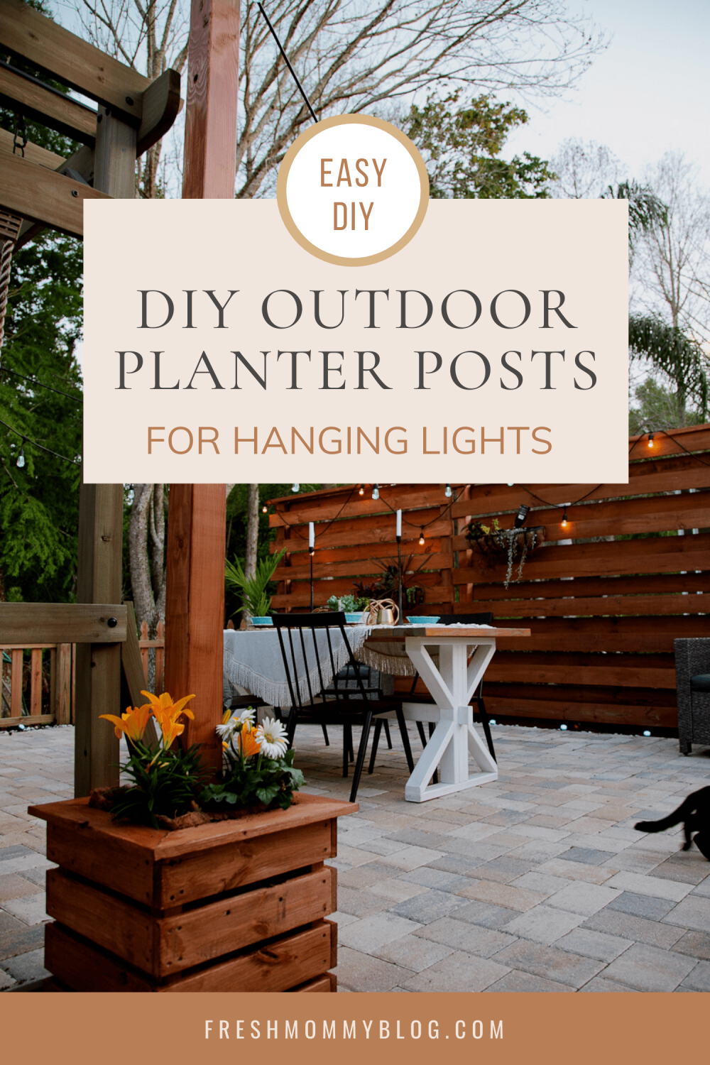 Home Update: DIY Outdoor Planter Box for Hanging String Lighting. These DIY outdoor planter flower boxes are a modern way to hang string lighting over a deck or patio and really update the look and feel of the great outdoors for all of your fun backyard plans! Perfect for a weekend warrior project from Top Florida Lifestyle Blogger Tabitha Blue of Fresh Mommy Blog.