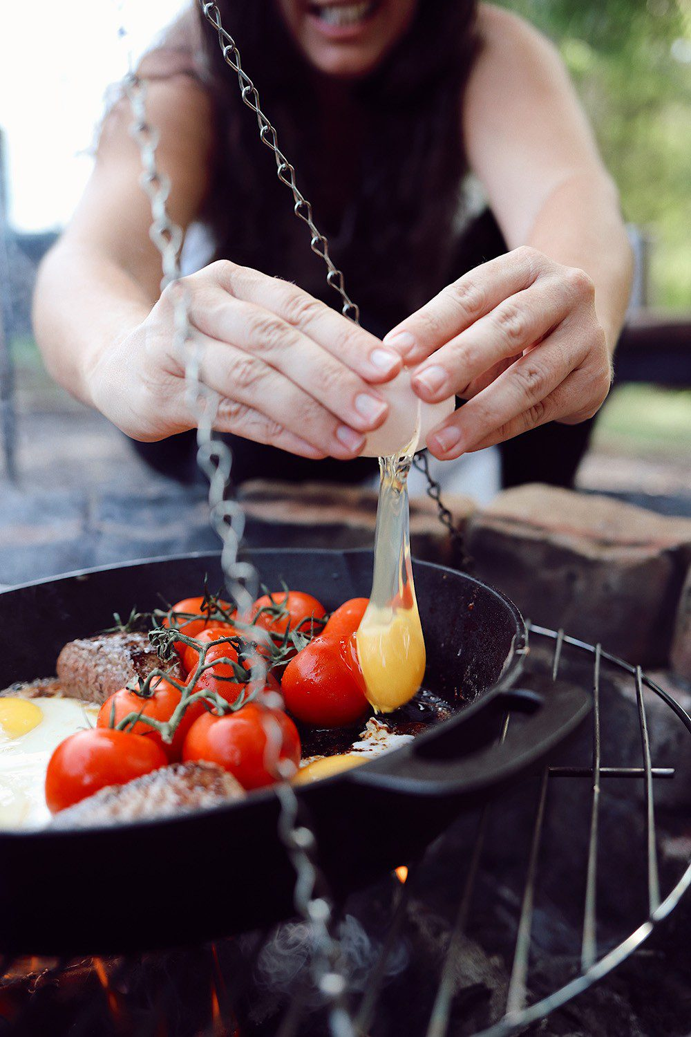 Over the Fire Cooking Steak and Eggs Breakfast for a Delicious Campfire Meal from top US lifestyle blogger Tabitha Blue of Fresh Mommy Blog