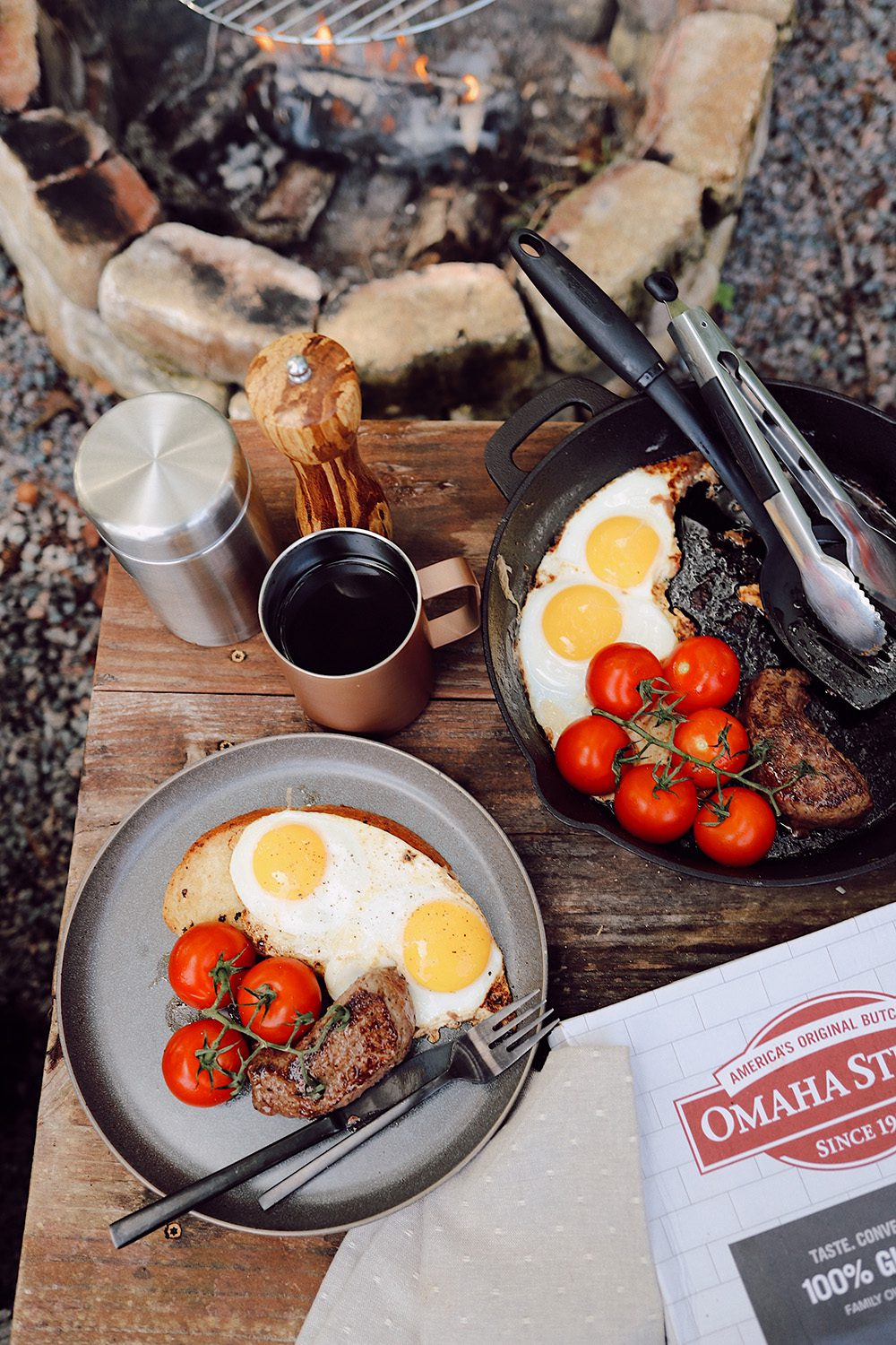 Over the Fire Cooking Steak and Eggs Breakfast for a Delicious Campfire Meal